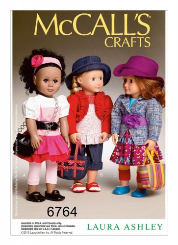 """McCALL'S 6764 AMERICAN GIRL 18"""" DOLL CLOTHES PATTERN NEW MODERN LAURA ASHLEY SEPARATES"""