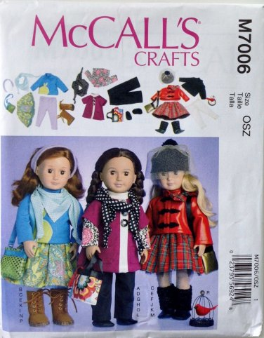 "McCALL'S 7006 AMERICAN GIRL 18"" DOLL CLOTHES PATTERN NEW MODERN SEPARATES & ACCESSORIES"