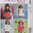 "McCALL'S 7031 AMERICAN GIRL 18"" DOLL CLOTHES PATTERN NEW OCCUPATIONS MAGICIAN, DOCTOR, NURSE"
