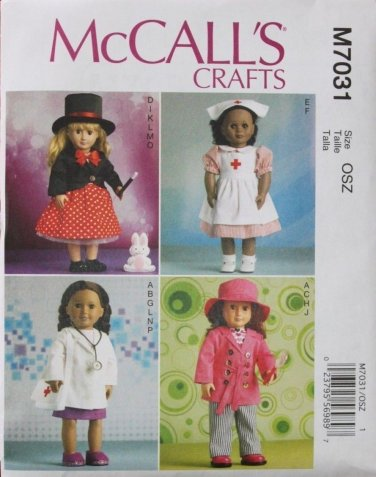 """McCALL'S 7031 AMERICAN GIRL 18"""" DOLL CLOTHES PATTERN NEW OCCUPATIONS MAGICIAN, DOCTOR, NURSE"""