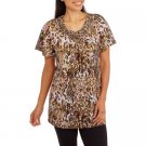 WHITE STAG WOMEN'S SIZE M (8 - 10) TUNIC TOP BROWN ANIMAL MACRAME SCOOP NECK PULLOVER NWT
