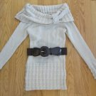 SAY WHAT ? WOMEN'S SIZE XS SWEATER BEIGE IVORY BELTED TUNIC COWL NECK LONG SLEEVE JUNIORS