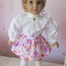 "AMERICAN GIRL 18"" DOLL CLOTHES SKIRT LAVENDER & CORAL FLORAL W/ WAIST BAND McKENNA NEW"