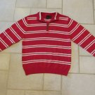 IZOD BOY'S SIZE L (14 / 16) SWEATER RED & WHITE STRIPE 1/2 ZIP FRONT PULLOVER NWT