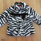 WONDER KIDS GIRL'S SIZE 2 T COAT BLACK & WHITE FAUX FUR ZEBRA ANIMAL WINTER OUTERWEAR DRESSY JACKET