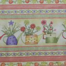 "ABS YELLOW GARDEN BORDER PRINT STRIPE 100% COTTON QUILT FABRIC 44-45"" WIDE NEW"