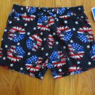 AMERICANA GIRL'S SIZE 4 T SHORTS RED, WHITE, & BLUE DAISIES, STARS & STRIPES PATRIOTIC NWT