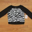 FADED GLORY GIRL'S SIZE XS (4 - 5) TOP BLACK & WHITE ZEBRA INSET LONG SLEEVE SHIRT NWT