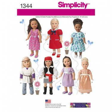 """SIMPLICITY 1344 AMERICAN GIRL 18"""" DOLL CLOTHES PATTERN EASY BEGINNER DRESSES SKIRT JEANS PIRATE NEW"""