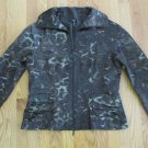 600 WEST WOMEN'S SIZE L JACKET BROWN & TAN LEOPARD ANIMAL ZIP FRONT DRESSY COAT