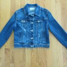 AMETHYST GIRL'S SIZE S JEAN JACKET MED. BLUE STRETCH RHINESTONES & SEQUINS DISTRESSED