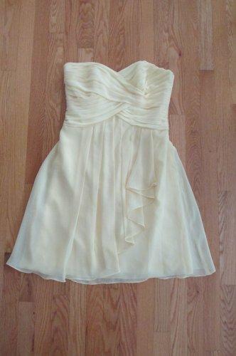DAVID'S BRIDAL WOMEN'S SIZE 8 DRESS YELLOW PROM STRAPLESS SHORT RUCHED CHIFFON WEDDING