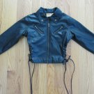 THALIA SODI GIRL'S SIZE 6 - 6X FAUX LEATHER COAT BLACK MOTORCYCLE JACKET OUTERWEAR