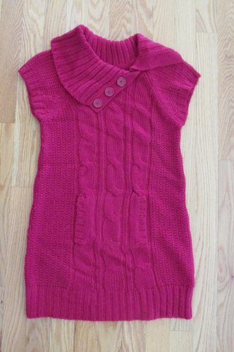 HEART N CRUSH GIRL'S SIZE M SWEATER DRESS RED GLITTER TUNIC WIDE COLLAR SS CHRISTMAS HOLIDAY