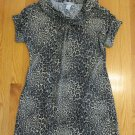 PROTEGE WOMEN'S SIZE M DRESS GRAY & BLACK LEOPARD, CHEETAH ANIMAL LONG TOP TUNIC COWL NECK