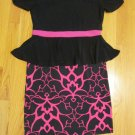CATO GIRL'S SIZE XL 16 DRESS BLACK & FUCHSIA PEPLUM