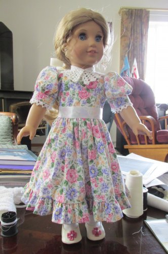 """AMERICAN GIRL 18"""" DOLL CLOTHES EASTER PARTY DRESS, LIFE OF FAITH, DAISY KINGDOM FLORAL NEW"""