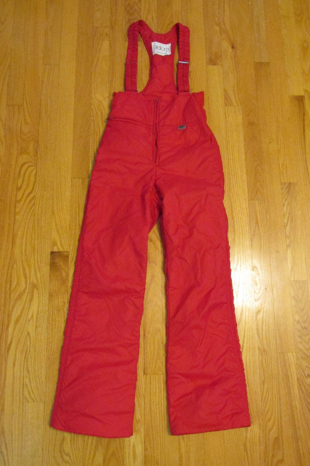 SLALOM WOMEN'S GIRL'S SIZE 26 SNOW PANTS RED OVERALLS WINTER OUTERWEAR RETRO