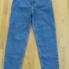 FADED GLORY GIRL'S SIZE 16 JEANS MED BLUE STONE WASHED DENIM HIGH WAIST TAPERED LEG MOM