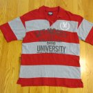 MECCA USA MEN'S SIZE XL POLO SHIRT RED & GRAY STRIPE SHORT SLEEVE
