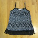 NO BOUNDARIES WOMEN'S JUNIOR'S SIZE L (11 - 13) TANK TOP BLACK & WHITE BOHO FRINGE CAMISOLE NWT