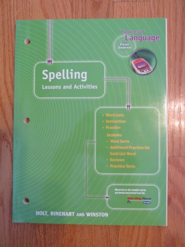 ELEMENTS OF LANGUAGE: FIRST COURSE 7th GRADE SPELLING HOLT ISBN # 0-03-056327-5 NEW 2000