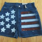 SASSON WOMEN'S JUNIOR'S SIZE 15/16 PETITE JEANS SHORTS BLUE W/ FLAG VINTAGE 80's MOM
