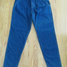 SEARS WOMEN'S JUNIOR'S SZ 11 JEANS DK BL TROUSER HIGH WAIST MOM 80'S FRONT YOKE & PLEATS TAPERED LEG