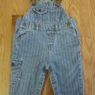 BABY GAP BOY'S SIZE 6 - 12 mo. OVERALLS STRIPED BLUE DENIM BIBS SNAP CROTCH VINTAGE
