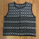BRIDGETOWN COLLECTION WOMEN'S SIZE L SWEATER VEST BLACK & WHITE NORDIC WOOL BLEND