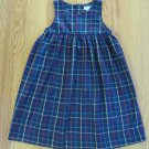 TABONY COLLECTION GIRL'S SIZE 6X DRESS NAVY, RED, PLAID CHRISTMAS JUMPER USA MADE
