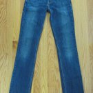 LEVIS 524 WOMEN'S SIZE 1 M JEANS MED BLUE DENIM SUPER SKINNY ULTRA TOO SUPER LOW RED TAB