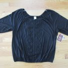 FADED GLORY WOMEN'S SIZE 1X 16 W PEASANT TOP BLACK CROCHETED LACE 3/4 SLEEVES  NWT