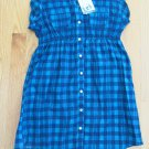 l.e.i. WOMEN'S JUNIOR'S SIZE S TOP NAVY BLUE & TEAL PLAID TUNIC MARIBETH SS NWT