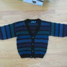 APPARATUS BOY'S SIZE M SWEATER BLACK TEAL, PURPLE, BLUE CARDIGAN VINTAGE 80'S HIPSTER