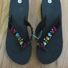 LADIES MUST HAVES WOMEN'S SIZE 8 SANDALS BLACK FLIP FLOPS GEMS THONG SHOES  NWT