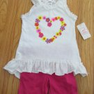 SWIGGLES GIRL'S SIZE 3 T SHORTS SET FUCHSIA & WHITE HEART FLOWERS GRAPHIC TANK TOP RUFFLES NWT