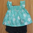 PARK BENCH KIDS GIRL'S SIZE 12 mo. SHORTS SET BLUE DENIM MINT & SILVER SMOCKED TOP NWT