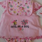 SWIGGLES GIRL'S SIZE 3 / 6 mo 3 PIECE SET PINK DRESS, PANTIES, BIB EMBROIDERED CUTE AS A BUG NWT
