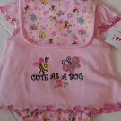 SWIGGLES GIRL'S SIZE 0 / 3 mo 3 PIECE SET PINK DRESS, PANTIES, BIB EMBROIDERED CUTE AS A BUG NWT
