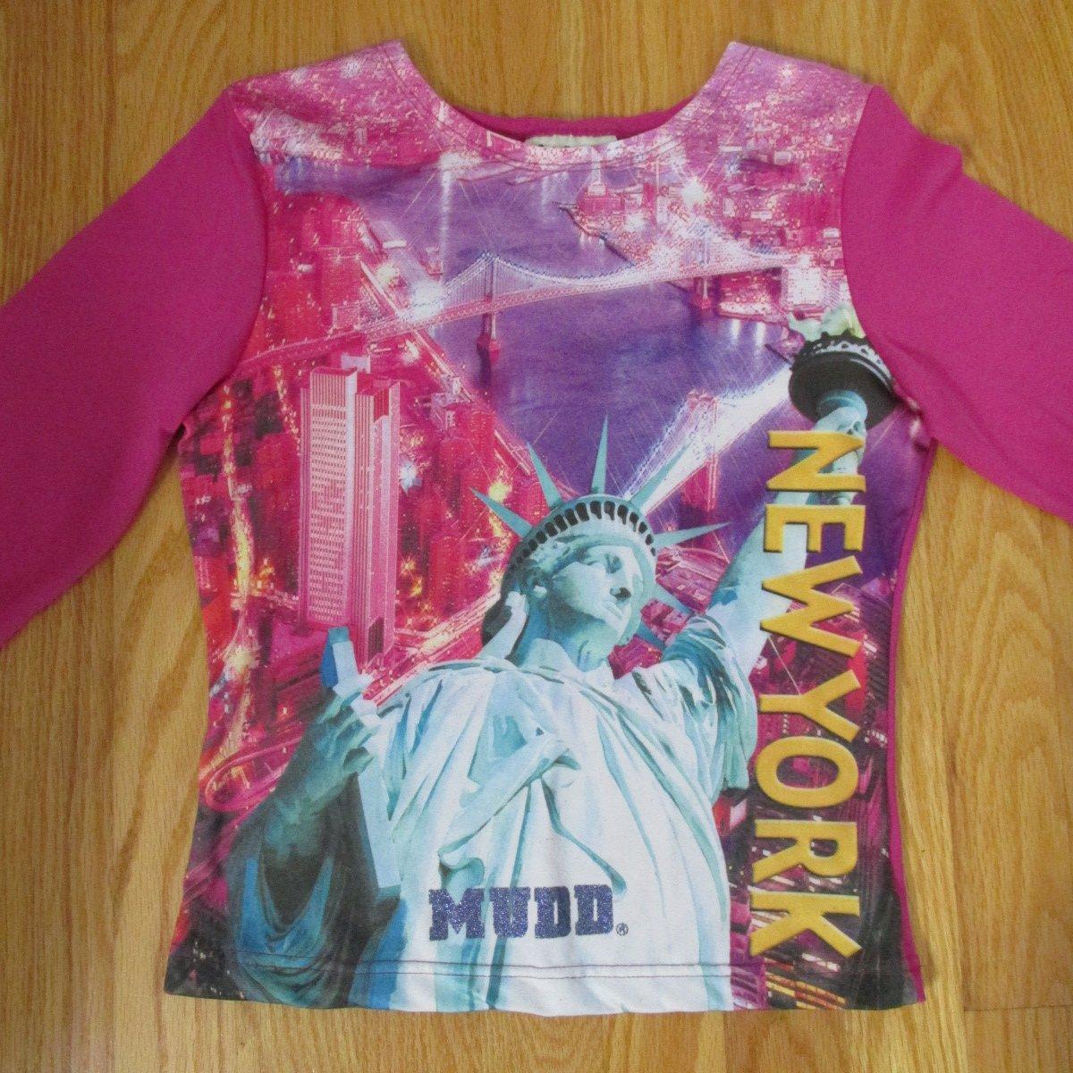 MUDD WOMENS SIZE S TOP FUCHSIA PINK NEW YORK SHIRT STATUE OF LIBERTY