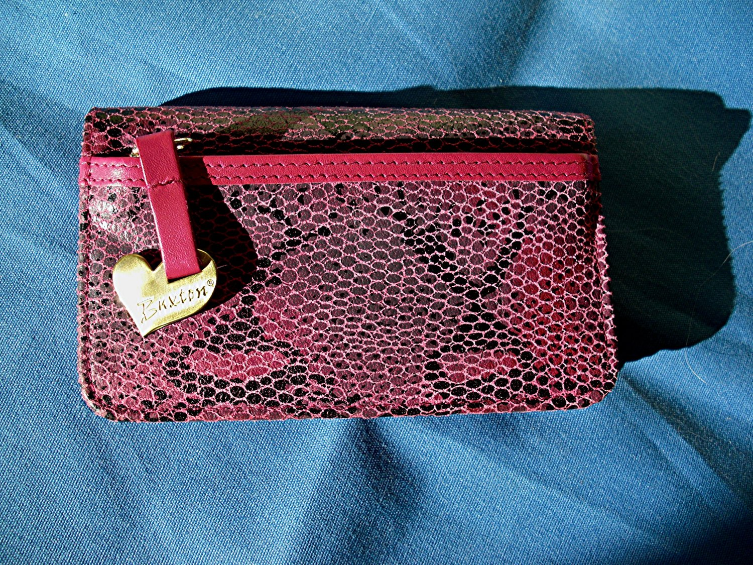 Buxton Wallet. - Genuine Leather Exterior - Rose Pink and Black