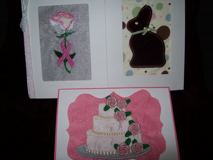 Machine Embroidered Greeting Cards
