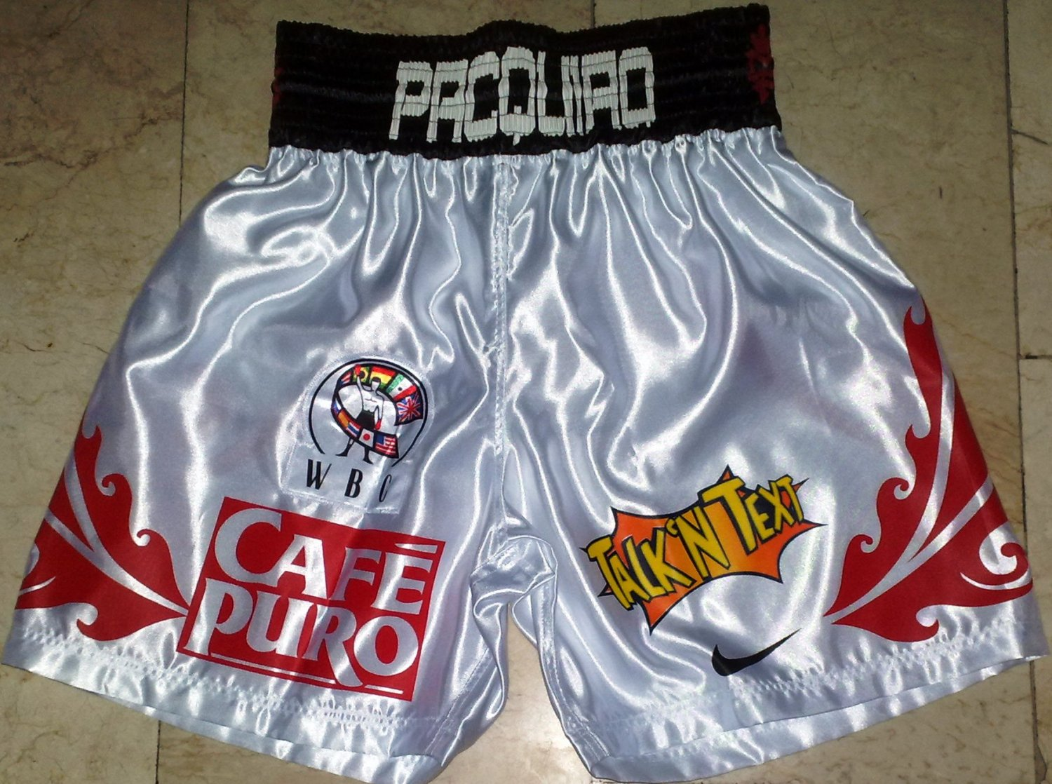 MANNY PACQUIAO Boxing Trunks vs. MARQUEZ 2 sz XL New