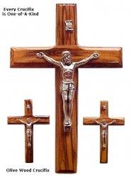 Olive wood Wih Pewer Crucifix