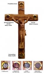 Olive Wood Crucifix With Essence Of  The Holy Land