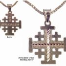 Jerusalem cross with silver necklace