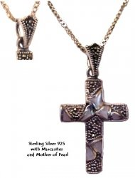 Silver cross with Marcasites and mother of pearl