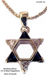 Star Of David With Sapphire and Cubic Zircons Necklace