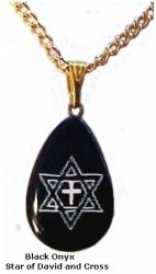 Onyx Necklace- Cross and Star of David/ Gold